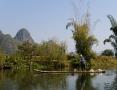 Auf dem Floss in der Gegend von Yangshuo